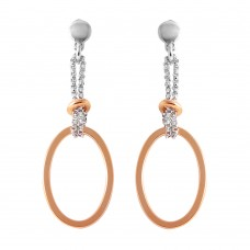 Wholesale Sterling Silver 925 Rose Gold Plated Single Oval Earrings - ITE00071RGP
