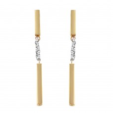 Wholesale Sterling Silver 925 Gold Plated Nunchaku Earrings - ITE00072GP