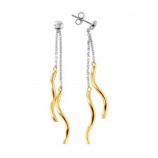 Wholesale Sterling Silver 925 Gold Plated Dangling Twists Earrings - ITE00074