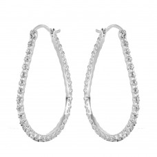 Wholesale Sterling Silver 925 Rhodium Plated Open Drop Hoop Earrings - STE00308