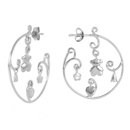 -Closeout- Wholesale Sterling Silver 925 Rhodium Plated Figure Round Hook Earrings - STE00521