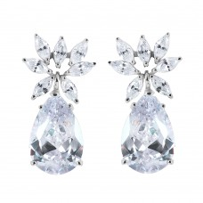 Wholesale Sterling Silver 925 Rhodium Plated Flower Pear CZ Dangling Stud Earrings - STE00659CLEAR