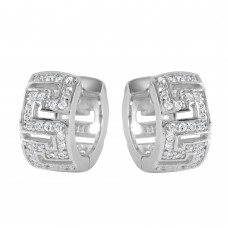 Wholesale Sterling Silver 925 Rhodium Plated Maze Hoop CZ Earrings - STE00733