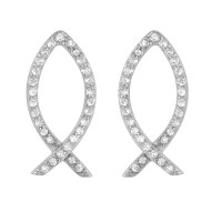 Wholesale Sterling Silver 925 Rhodium Plated Open Fish Earrings - STE00967