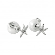 Wholesale Sterling Silver 925 Rhodium Plated Starfish Pearl Stud Earrings - STE00981