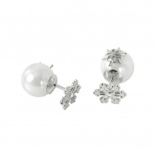 Wholesale Sterling Silver 925 Rhodium Plated Snowflake Pearl Stud Earrings - STE00982