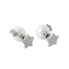 Wholesale Sterling Silver 925 Rhodium Plated Star Moon Pearl Stud Earrings - STE00983