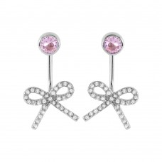 Sterling Silver Rhodium Plated Bowtie Pink CZ Earring STE00985