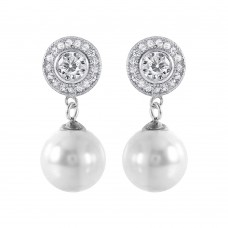 Wholesale Sterling Silver 925 Rhodium Plated Pearl CZ Cluster Earrings - STE00988