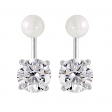 Sterling Silver Rhodium Plated Pearl CZ Earring - STE00990