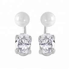 Wholesale Sterling Silver 925 Rhodium Plated Synthetic Pearl Oval CZ Earrings - STE00991