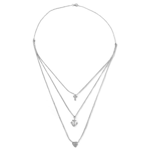 Wholesale Sterling Silver 925 Rhodium Plated Cross Anchor Heart Necklace - STP01475
