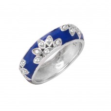Wholesale Sterling Silver 925 Rhodium Plated Flower Band Ring - STR00520
