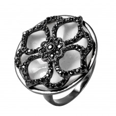 **Closeout** Wholesale Sterling Silver 925 Rhodium Plated Flower Ring - STR00861