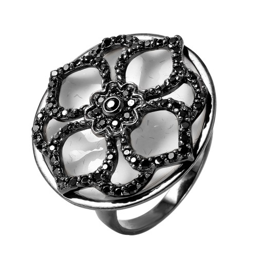 -Closeout- Wholesale Sterling Silver 925 Rhodium Plated Flower Ring - STR00861