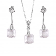 Wholesale Sterling Silver 925 Rhodium Plated Dangling CZ Set - STS00228