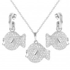 Wholesale Sterling Silver 925 Rhodium Plated Fish CZ Set - STS00115