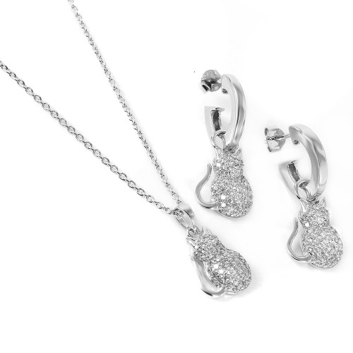 Wholesale Sterling Silver 925 Rhodium Plated Fat Cat Set - STS00117