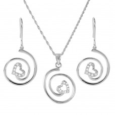 Wholesale Sterling Silver 925 Rhodium Plated Swirl Heart Set - STS00462