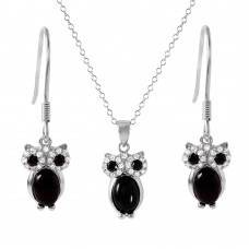 Wholesale Sterling Silver 925 Rhodium Plated Black Stone Owl Set - STS00493