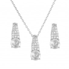 Sterling Silver Rhodium Plated Teardrop CZ Birthstone Set April - STS00495-APR