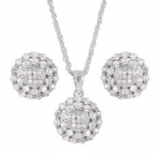Wholesale Sterling Silver 925 Rhodium Plated Flower Cluster Set - STS00496