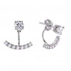 Sterling Silver Rhodium Plated CZ Curve Earring BGE00440