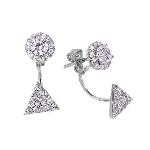 Wholesale Sterling Silver 925 Rhodium Plated Triangle Cluster Earrings - BGE00441