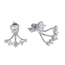 Sterling Silver Rhodium Plated CZ Claw Earring BGE00442