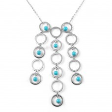 **Closeout** Sterling Silver Rhodium Plated Multi Circle Strand Turquoise Bead CZ Pendant Necklace bgn00008