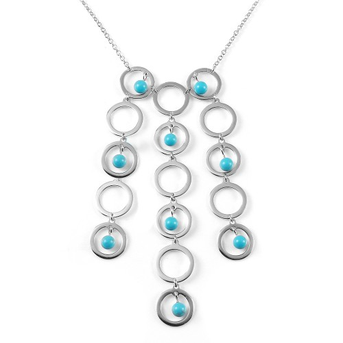 -Closeout- Wholesale Sterling Silver 925 Rhodium Plated Multi Circle Strand Turquoise Bead CZ Pendant Necklace - BGN00008
