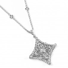 Wholesale Sterling Silver 925 Rhodium Plated Snowflake Necklace - BGN00039