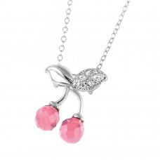 Wholesale Sterling Silver 925 Rhodium Plated Pink CZ Cherries Necklace - BGP00443PNK