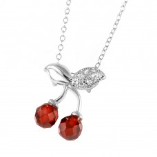Sterling Silver Rhodium Plated Cherries Necklace - BGP00443RED