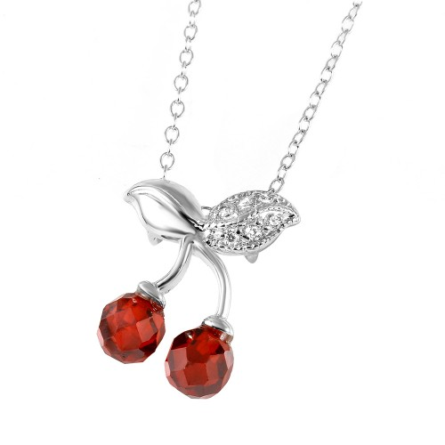 Wholesale Sterling Silver 925 Rhodium Plated Cherries Necklace - BGP00443RED
