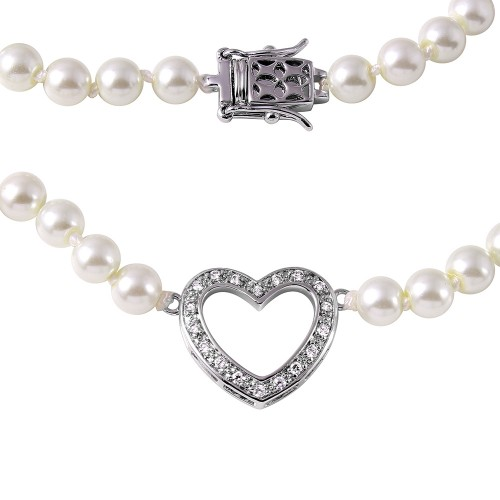 Wholesale Sterling Silver 925 Rhodium Plated Open Heart Pearl Necklace - BGP00497