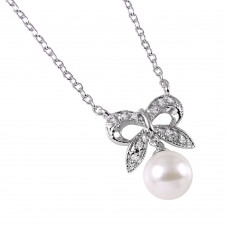 Wholesale Sterling Silver 925 Rhodium Plated CZ Encrusted Bow with Hanging Synthetic Pearl - BGP00499