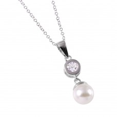 Wholesale Sterling Silver 925 CZ and Synthetic Pearl Drop Necklace - BGP00527