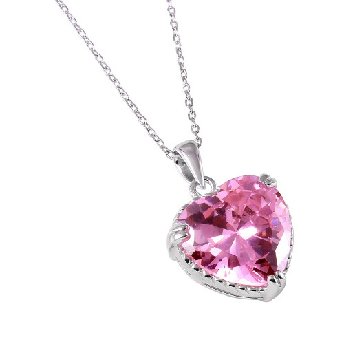 Wholesale Sterling Silver 925 Rhodium Plated Pink Heart CZ Rope Necklace - BGP00731PNK