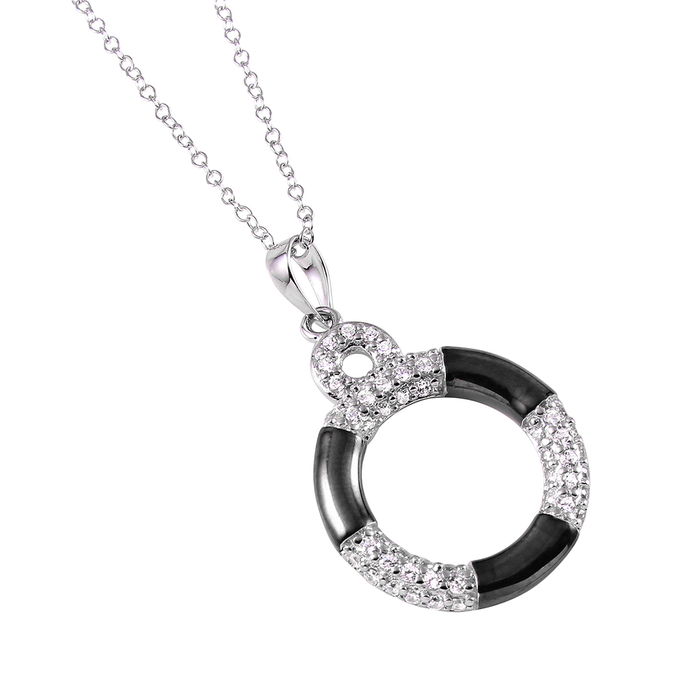 Wholesale Sterling Silver 925 Rhodium Lifebuoy Necklace with CZ - BGP00918