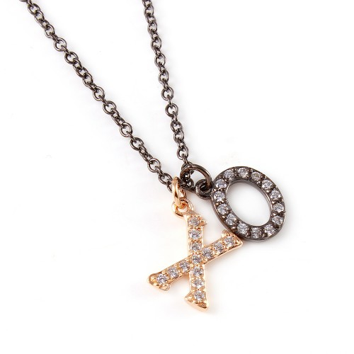 Wholesale Sterling Silver 925 Black Rhodium and Rose Gold Plated Plated XO Hug Kiss Necklace with CZ - BGP00932