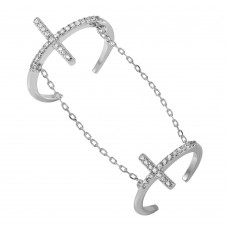 Wholesale Sterling Silver 925 Rhodium Plated Cross Slave Ring - BGR00952