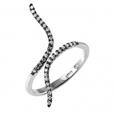 Sterling Silver Black Rhodium and Rhodium Plated Graph Black Rhodium Ring - BGR00973