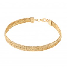 Sterling Silver Gold Plated Wheat Thin Itlian Bracelet DIB00001GP