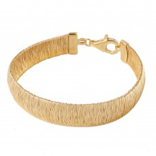 Wholesale Sterling Silver 925 Gold Plated Wheat Thick Italian Bracelet - DIB00002GP