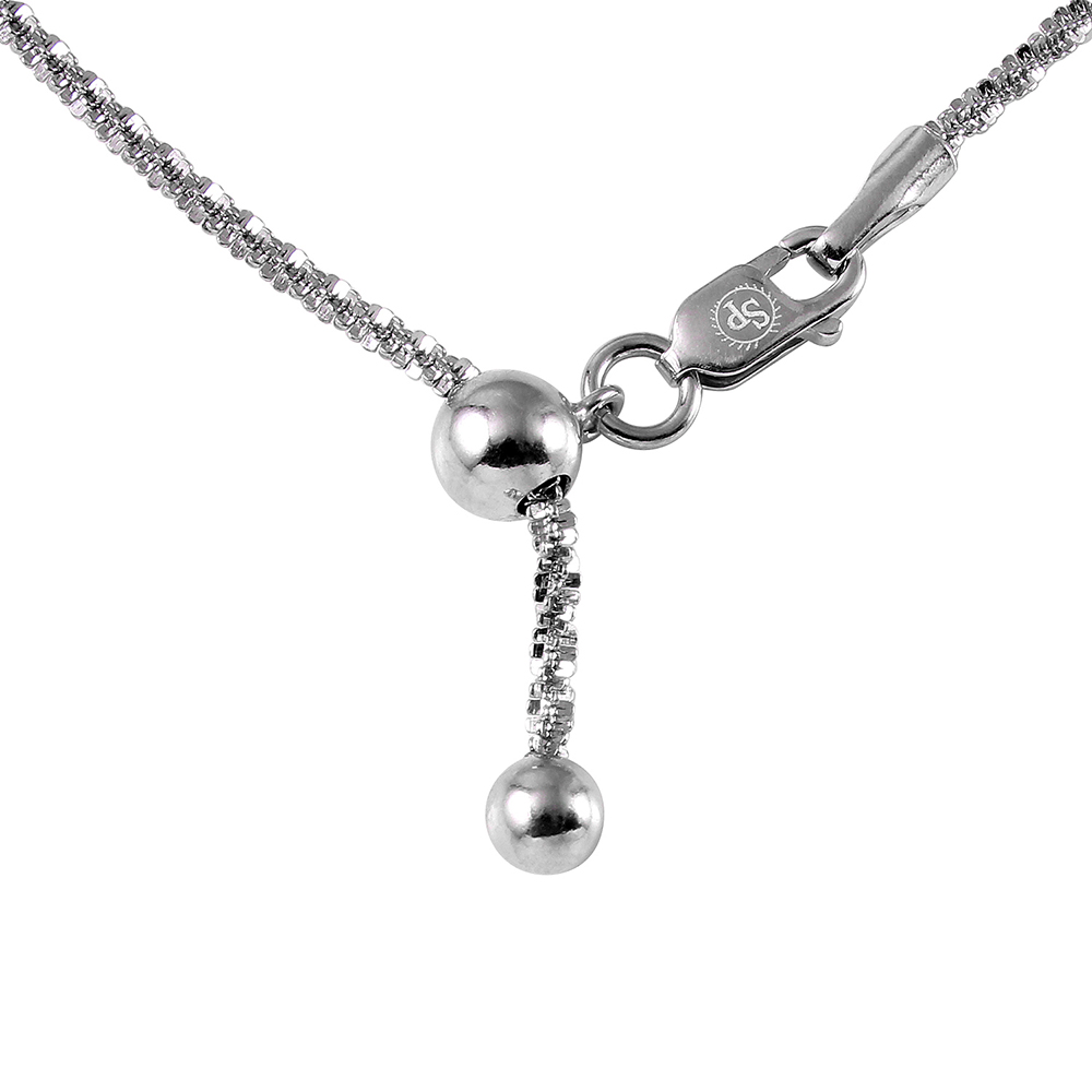 Wholesale Sterling Silver 925 Rhodium Plated Roc Slider Adjustable Chain Necklace - DIN00011RH