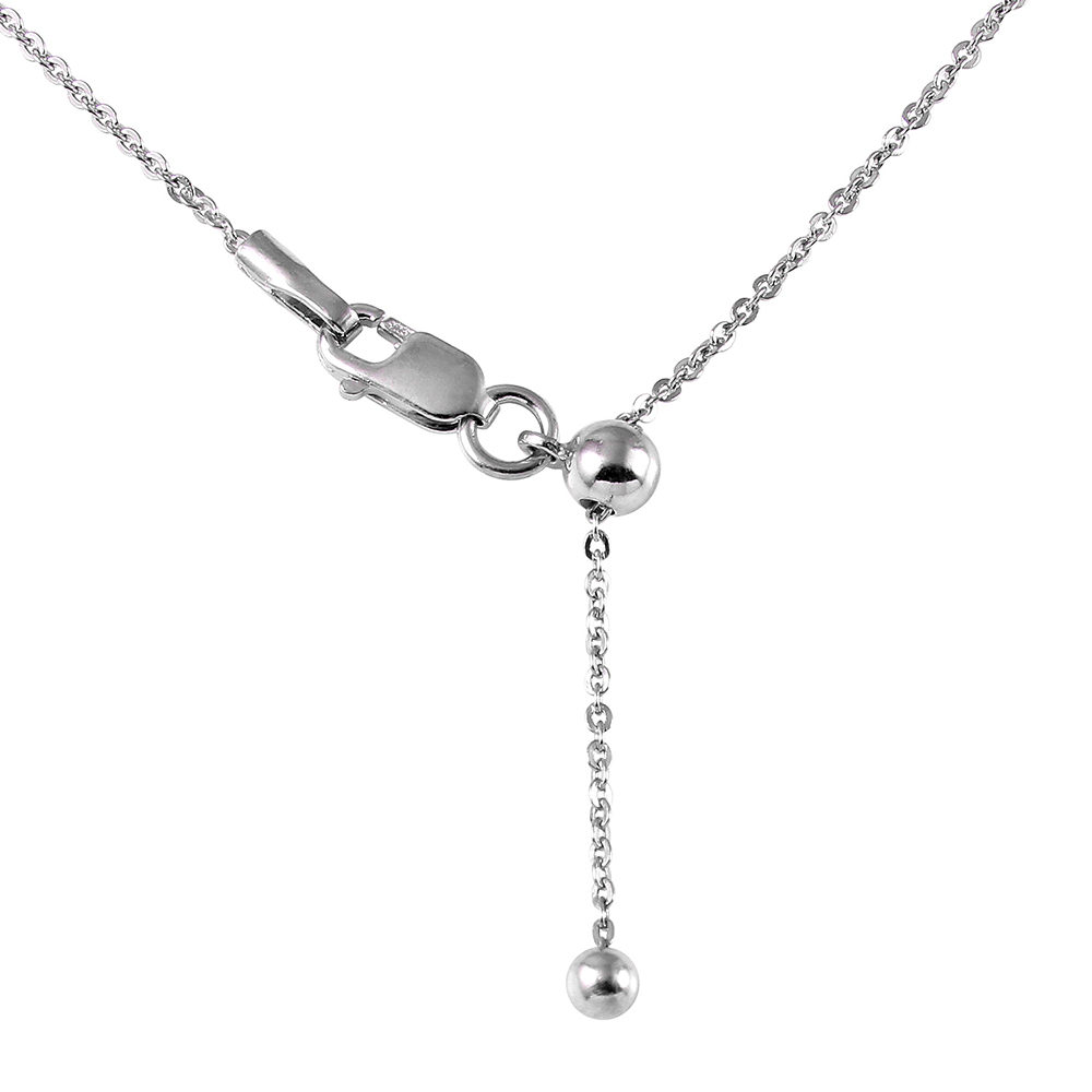 Wholesale Sterling Silver 925 Rhodium Plated Flat Rolo Slider Adjustable Chain Necklace - DIN00013RH