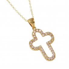 **Closeout** Wholesale Sterling Silver 925 Gold Plated Open Round Cross Necklace - STP00011GP