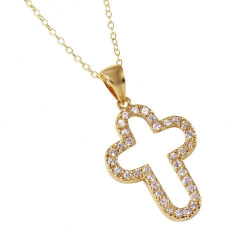 -Closeout- Wholesale Sterling Silver 925 Gold Plated Open Round Cross Necklace - STP00011GP
