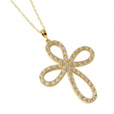 **Closeout** Wholesale Sterling Silver 925 Gold Plated Open Infinity Round Cross Necklace - STP00052GP